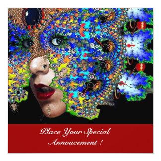 "EPHEMERAL Mardi Gras Masquerade Ball ,Blue Mask 5.25"" Square Invitation Card"