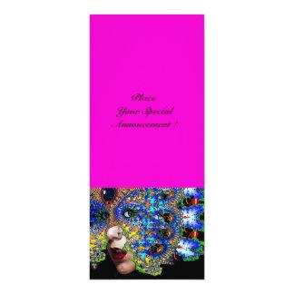 EPHEMERAL Mardi Gras Masquerade Ball,fuchsia black 4x9.25 Paper Invitation Card