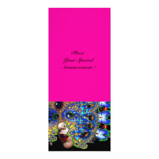 EPHEMERAL Mardi Gras Masquerade ball fuchsia,blue 10 Cm X 24 Cm Invitation Card