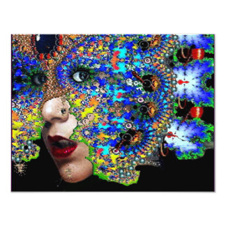 "EPHEMERAL  Mardi Gras Masquerade Ball fuchsia blue 4.25"" X 5.5"" Invitation Card"