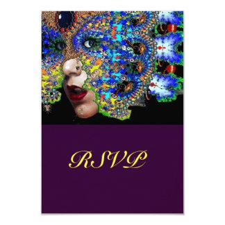 EPHEMERAL Mardi Gras  Masquerade Ball Rsvp 9 Cm X 13 Cm Invitation Card