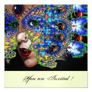 """EPHEMERAL Mardi Gras masquerade ball white ice 5.25"""" Square Invitation Card"""