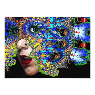 EPHEMERAL,Mardi Gras Masquerade Party black blue 13 Cm X 18 Cm Invitation Card