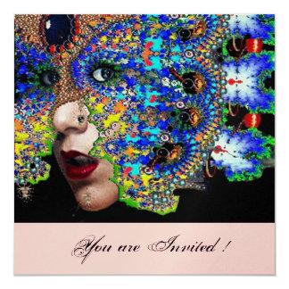 "EPHEMERAL masquerade costume ball ,gold,pink 5.25"" Square Invitation Card"