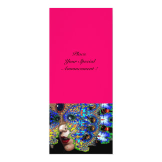 EPHEMERAL masquerade costume ball ,pink,fuchsia 10 Cm X 24 Cm Invitation Card