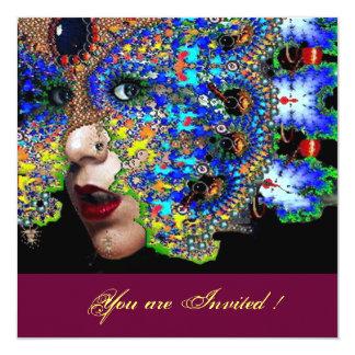 "EPHEMERAL sweet 16 masquerade ball ,blue mask 5.25"" Square Invitation Card"
