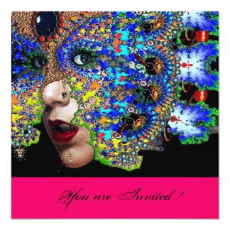 """EPHEMERALMardi Gras Masquerade Ball,fuchsia black 5.25"""" Square Invitation Card"""
