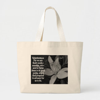 EPHESIANS 2:10 BIBLE SCRIPTURE QUOTE LARGE TOTE BAG