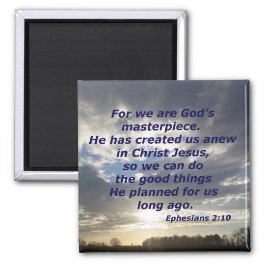 Ephesians 2:10 square magnet