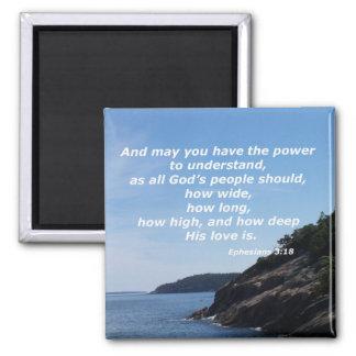 Ephesians 3:18 square magnet