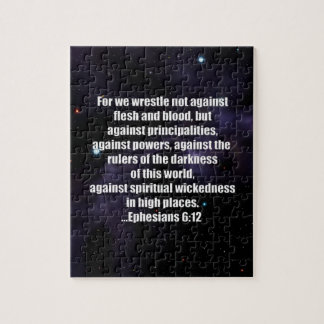 Ephesians 6:12 Bible Verse on Space Background Jigsaw Puzzle