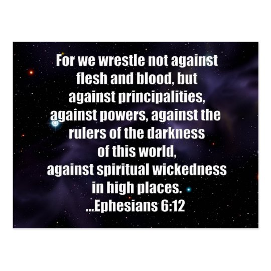 Ephesians 6:12 Bible Verse on Space Background Postcard
