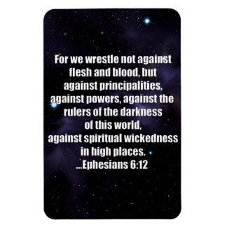 Ephesians 6:12 Bible Verse on Space Background Rectangular Photo Magnet
