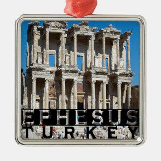 Ephesus Turkey Souvenir Silver-Colored Square Decoration