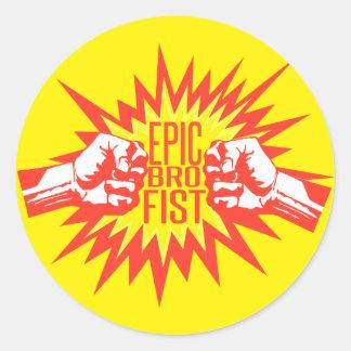 Epic Bro Fist Classic Round Sticker