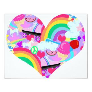 Epic Eighties Explosion Heart 11 Cm X 14 Cm Invitation Card