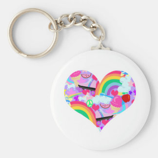 Epic Eighties Explosion Heart Basic Round Button Key Ring
