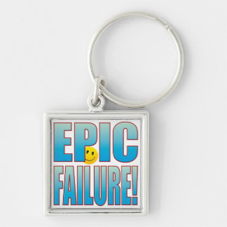 Epic Failure Life B Silver-Colored Square Key Ring