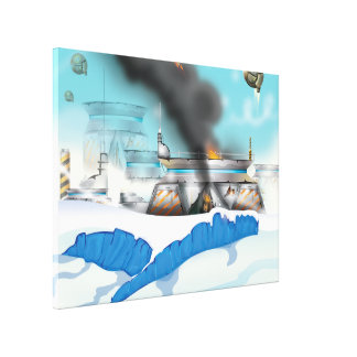 Epic Ice Planet Space Battle Gallery Wrap Canvas