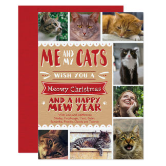 EPIC Me and My Cats Christmas 5x7 Card (8 Images) 13 Cm X 18 Cm Invitation Card
