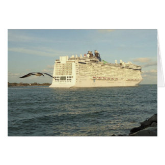 Epic Pursuit - Bird and Cruise Ship Blank Note Card