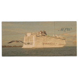 Epic Pursuit - Bird and Cruise Ship Monogrammed Wood USB 3.0 Flash Drive