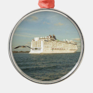 Epic Pursuit - Bird Follows Cruise Ship Christmas Ornament