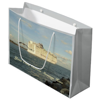Epic Pursuit - Bird Follows Cruise Ship Custom Large Gift Bag