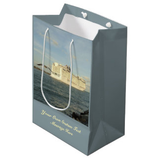 Epic Pursuit - Bird Follows Cruise Ship Custom Medium Gift Bag