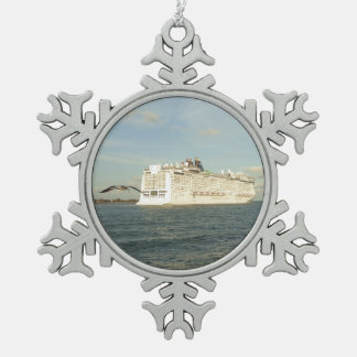 Epic Pursuit - Cruise Ship and Gull Snowflake Pewter Christmas Ornament