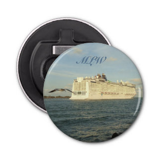 Epic Pursuit - Gull and Cruise Ship Monogrammed Bottle Opener