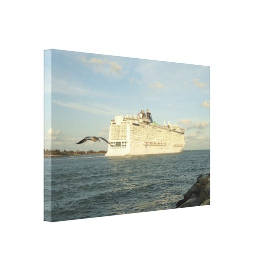 Epic Pursuit - Gull Following Cruise Ship Canvas