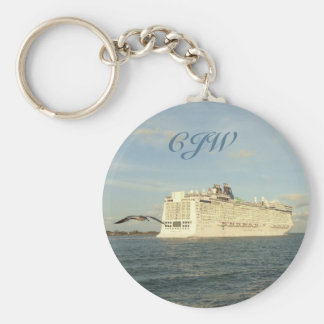 Epic Pursuit - Gull Following Cruise Ship Monogram Key Ring