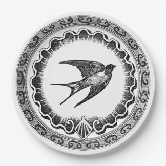 Epic Vintage Black And White Bird Design 9 Inch Paper Plate