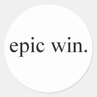 epic win classic round sticker