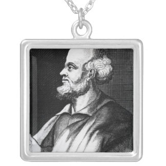 Epicurus, engraved by Johann Fredrich Schmidt Silver Plated Necklace