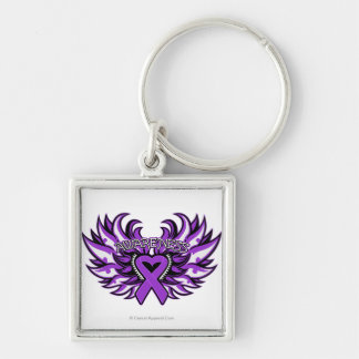 Epilepsy Awareness Heart Wings.png Silver-Colored Square Key Ring