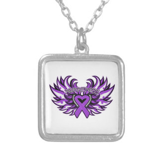 Epilepsy Awareness Heart Wings.png Silver Plated Necklace