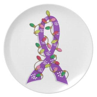 Epilepsy Christmas Lights Ribbon Dinner Plates