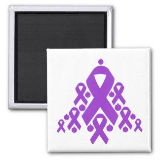 Epilepsy Christmas Ribbon Tree Square Magnet