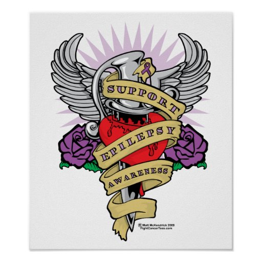 Epilepsy Dagger and Heart Tattoo Poster