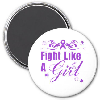 Epilepsy Fight Like A Girl Ornate Fridge Magnets