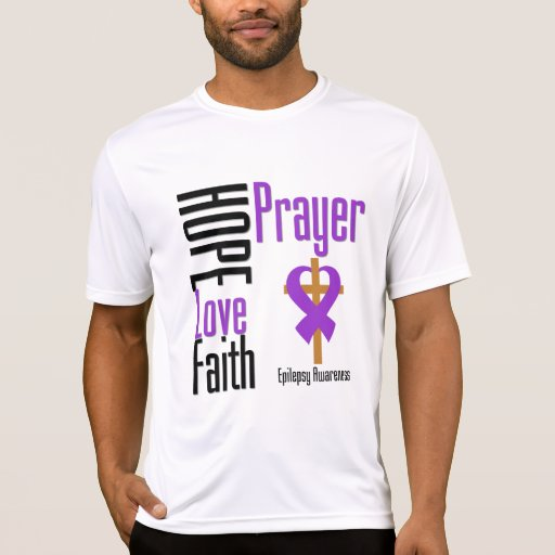 Epilepsy Hope Love Faith Prayer Cross T Shirts