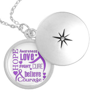 Epilepsy Hope Words Collage Round Locket Necklace