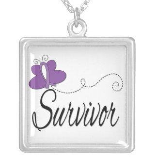 Epilepsy Survivor Butterfly Ribbon Square Pendant Necklace