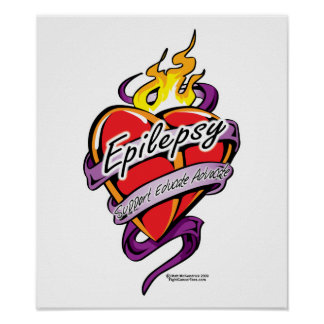 Epilepsy Tattoo Heart Print