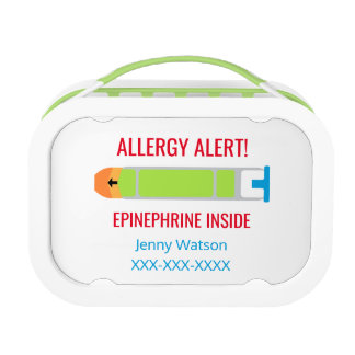 Epinephrine Allergy Alert Personalized Kids Lunch Boxes