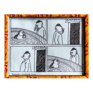 Episode i zoologisk hage postcard