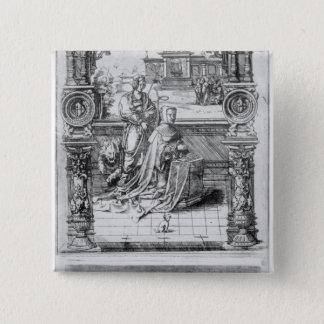 Epitaph of Margaret of Austria 15 Cm Square Badge