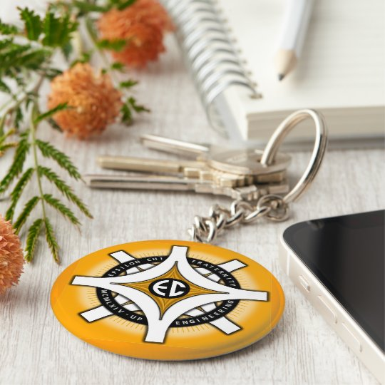 Epsilon Chi Gold Background Keychain